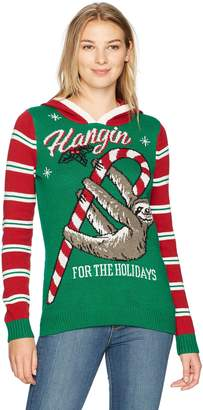 Ugly Christmas Sweater Junior's Hangin for The Holidays Sloth Sweater, Emerald, L
