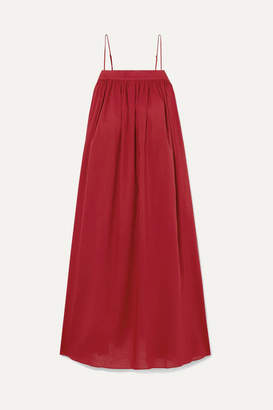 ADAM by Adam Lippes Gathered Cotton-voile Midi Dress - Claret