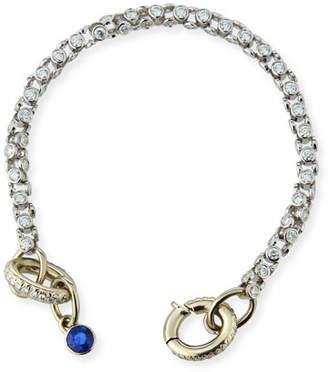 Oscar Heyman 18K White Gold Diamond Watch Bracelet with Blue Sapphire Toggle