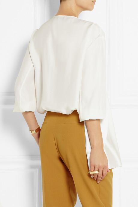 Issa Brigette asymmetric silk-charmeuse top