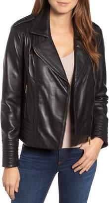 Badgley Mischka Collection Gia Leather Biker Jacket
