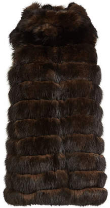 Yves Salomon Fox Fur and Leather Vest