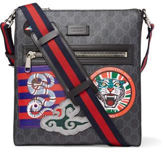 Gucci Leather-Trimmed Appliquéd Monogrammed Coated-Canvas Messenger Bag