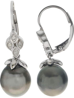 Pearls 14K Diamond & 9-10Mm Tahitian Pearl Drop Earrings