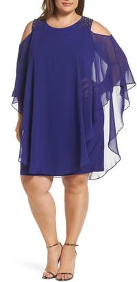 Xscape Evenings Cold Shoulder Chiffon Overlay Cocktail Shift Dress