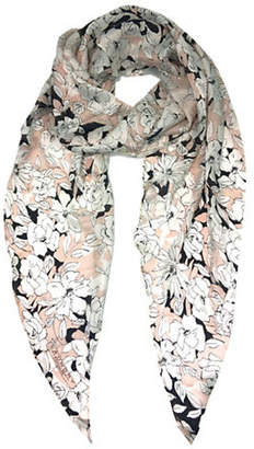 Laundry by Shelli Segal Sketched Floral Silk Scarf