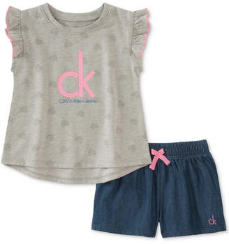 Calvin Klein Little Girls 2-Pc. Flutter-Sleeve Top & Denim Shorts Set