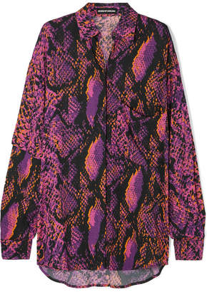 House of Holland Oversized Snake-print Crepe De Chine Shirt - Pink