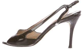 Manolo Blahnik Patent Leather Slingback Sandals