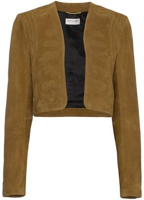 Saint Laurent Suede cropped military jacket