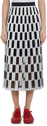 Off-White c/o Virgil Abloh Women's Pleated Checked Satin & Mesh Skirt $775 thestylecure.com