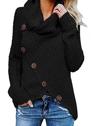 Actloe Women Cowl Neck Long Sleeve Asymmetrical Hem Sweaters Front Wrap with Button Pullover Jumper X-Large