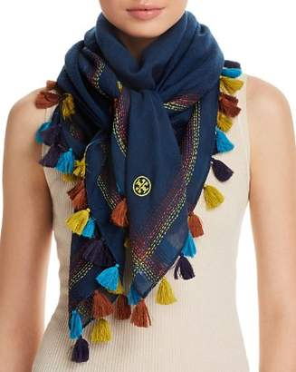 Tory Burch Embroidered Oversized Square Scarf