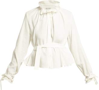 Palmer Harding PALMER/HARDING Shadey ruffled-neck belted cotton-muslin blouse