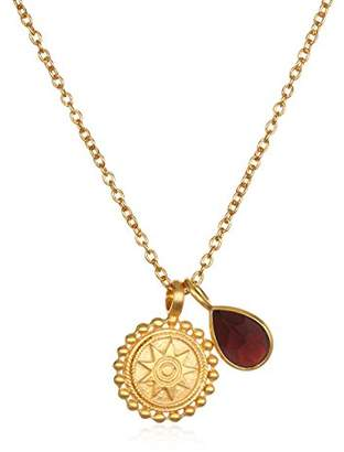 Satya Jewelry Womens Mandala Ruby Birthstone Pendant Necklace 16-Inch +2-Inch Extension