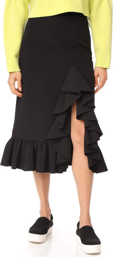 MSGM Crepe Ruffle Skirt