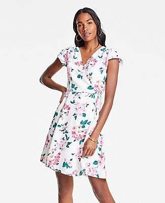Ann Taylor Petite Floral Cluster Flutter Sleeve Wrap Dress