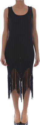 Moschino Fringed Rib Knit Tank Dress