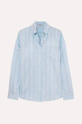 Prada Striped Silk-satin Shirt - Blue