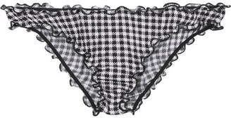 Eberjey Bettina Frilled Gingham Stretch-modal Briefs - Midnight blue