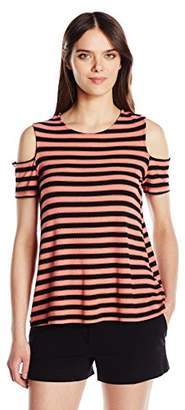 Michael Stars Women's Sophie Stripe Cold Shoulder Tee