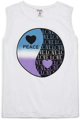 Flowers by Zoe Girls' Distressed Peace Love Yin-Yang Tank