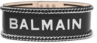 Balmain Embellished Leather Waist Belt - Black