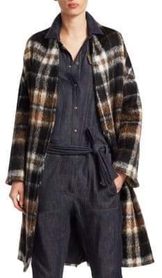Brunello Cucinelli Belted Alpaca Plaid Coat