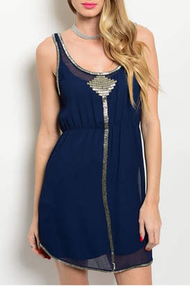 Aryn K Navy Embellished Dress