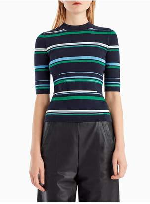 Jason Wu Grey By Striped Short Sleeve Crew Neck Top