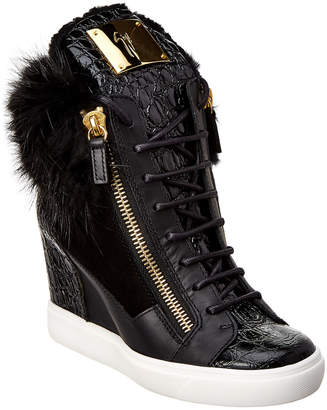 Giuseppe Zanotti Croc-Embossed Leather Wedge Sneaker