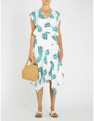 Vix Aloe Amy palm-print flared woven dress