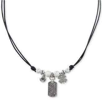 """Lucky Brand Silver-Tone Leather Charm Pendant Necklace, 16-1/2"""" + 2"""" extender"""