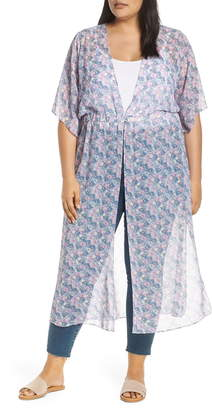 Vince Camuto Charming Floral Chiffon Duster