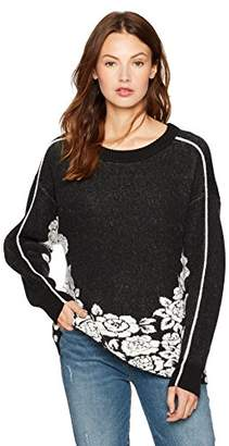 Cable Stitch Women's Floral Jacquard Pattern Sweater
