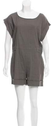 Emporio Armani Short-Sleeve Linen-Blend Romper