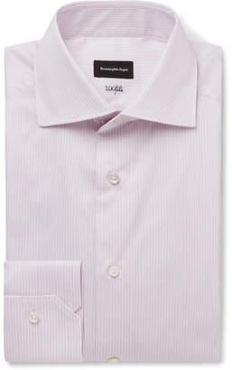 Pink Cutaway-Collar Striped Cotton-Poplin Shirt