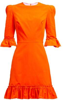 The Vampire's Wife Festival Ruffle Trimmed Cotton Corduroy Dress - Womens - Orange