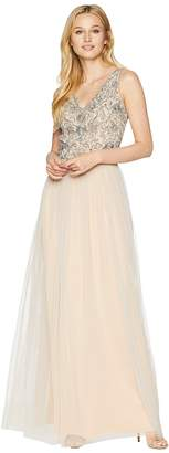 Adrianna Papell Long Gown with Beaded Bodice and Tulle Skirt Women's Dress