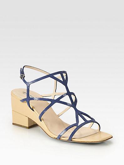 Giorgio Armani Lizard-Print Leather Demi-Wedge Sandals