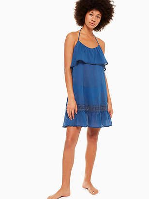 Kate Spade Grove Beach Ruffle Cover-up Dress, Capri Blue - Size XS