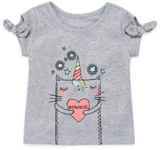 Okie Dokie Bow Sleeve Graphic T-Shirt-Baby Girls NB-24M