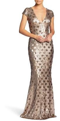 Dress the Population Lina Patterned Sequin Trumpet Gown