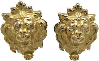 Lion's Head Earrings with Faux-Pearl
