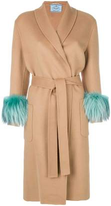 Prada fur-cuff coat