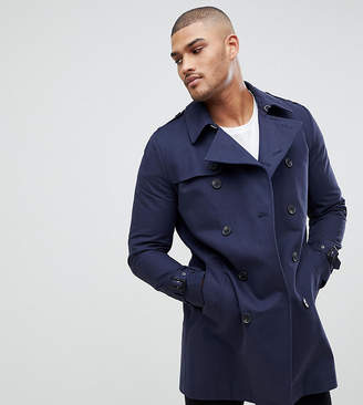 Asos Tall Shower Resistant Double Breasted Trench In Navy