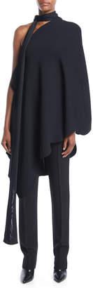 Valentino One-Shoulder Scarf-Neck Scalloped-Edge Stretch-Viscose Tunic Top