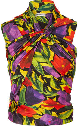 Balenciaga Ruched Twist-front Floral-print Stretch-jersey Top - Purple