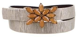 Oscar de la Renta Metallic Embellished Skinny Belt