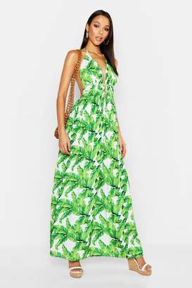 3642b144e98f boohoo Tall Plunge Front Palm Print Maxi Dress